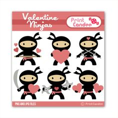 Valentine Ninjas - BUY 2 GET 1 FREE - Digital Clip Art - Personal and Commercial Use - valentines day for boys karate nunchuks. $3.50, via Etsy.