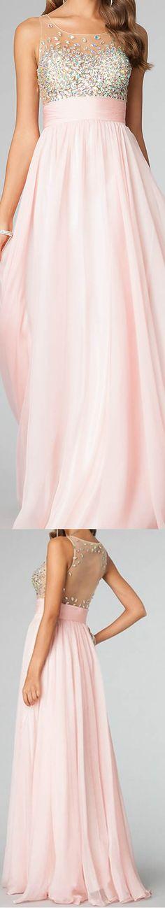 DIYouth.com Modern Sexy Long Pink Beaded Prom Party Dresses Evening Gown, long graduation dress, cocktail dress, sexy evening dresses, beading evening dress