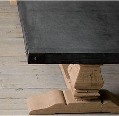 Salvaged Wood U0026 Concrete Trestle Rectangular Dining Table