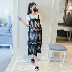 6098 Summer new product Korean style round collar T-shirt with lace two-piece twinset pregnant women dress short sleeve dress Cute Maternity Outfits, Stylish Maternity, Pregnancy Outfits, Maternity Wear, Maternity Dresses, Maternity Fashion, Cute Outfits, Pregnant With A Girl, Dresses For Pregnant Women