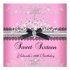 Sweet Sixteen 16th Pink Glitter Tiara Black Bow Custom Announcement lowest price for you. In addition you can compare price with another store and read helpful reviews. BuyReviewReview from Associated Store with this Deal...
