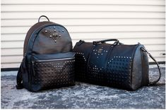 Studded Black Leather Backpack & Duffle | MCM