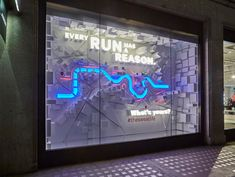 lululemon – Every Run Has A Reason, London Exhibition Display, Exhibition Space, Retail Fixtures, Shoe Display, Famous Landmarks, Red Led, Concrete Jungle, Floor Mirror, Visual Merchandising
