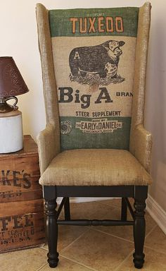 Add farm fabulousness to your home with feed sack furniture. Search on Etsy or local flea markets to find your own treasures. Diy Rustic Decor, Country Decor, Furniture Makeover, Diy Furniture, Painted Furniture, Chair Makeover, Western Homes, Feed Sacks, Shabby Vintage
