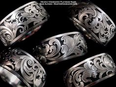 BPR: go to website Sam Alfano, engraver - Jewelry Engraving Hands down my favourite engraver. Perfection in metal. Engraved Jewelry, Engraved Rings, Metal Jewelry, Silver Jewelry, Gold Jewellery, Silver Ring, Silver Earrings, Grabar Metal, Metal Engraving