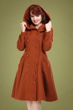 Heather Hooded Swing Coat in Burnt Orange - Damenmode 1950s Fashion Women, Retro Fashion, Vintage Fashion, Swing Rock, Vintage Chic, Faux Fur Collar Coat, Orange Jacket, Thick Sweaters, Swing Coats
