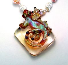 Borosilicate Glass OOAK Gecko Statement Necklace  by TheSilverBear, $325.00