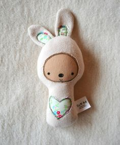 This unique little bunny is a sweet soft toy for your little one. Suitable from birth for both boy or girl, CE tested soft toy. The cute little bunny