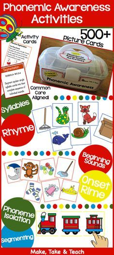 The Big Box of Phonemic Awareness Activities.  Over 500 pictures designed to teach syllables, rhyme, beginning sounds, onset-rime, phoneme isolation and segmentation.  Common core aligned.  Activity cards.  Just grab the tote and you're ready to go!