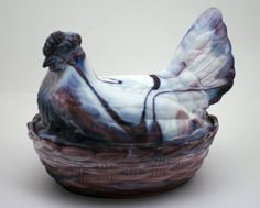 For the #chicken collector! #Vintage purple slag pressed glass nesting hen from SmilingCatVintage