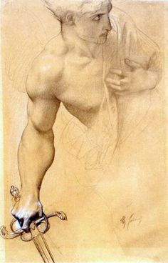 Study for Paradise Lost: Angel, 1863-67. Pierre noire with white highlights on chamois paper. Musée des Beaux-Arts Alexandre Cabanel