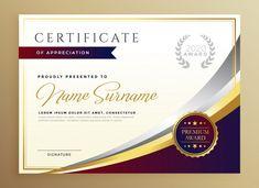 Design elegante modelo de certificado no tema dourado Vetor grátis Free Certificates, Certificate Design Template, Certificate Of Appreciation, Certificate Of Achievement, Certificate Design Online, Certificate Images, Certificate Border, Blank Certificate, Certificate Of Completion Template