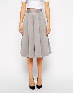 Image 4 ofCloset Full Skater Skirt in Baroque Embossed Scuba