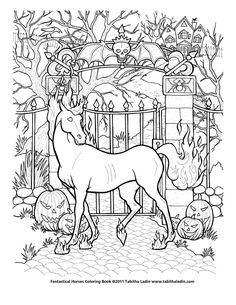 """This a a sample page from my upcoming """"Fantastical Horses Coloring Book"""", which I hope to have ready for the holidays. Hand drawn with ink on paper. Feel free to color but please give me credit if ..."""