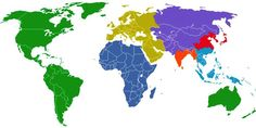 World's Population Evenly Divided into 7 Regions, Each with 1 Billion People
