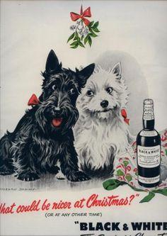 Vintage 1950 Black & White Whiskey Christmas Art M Dennis AD
