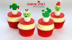 CHRISTMAS CACTUS CUPCAKE TOPPERS | Saracino Cactus Pot, Green Cactus, Cactus Cupcakes, Mini Cupcakes, Edible Glue, Christmas Cactus, Palm Of Your Hand, Small Leaf, Christmas Pudding