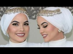 Elegant and Beautiful Jewellery Ideas for Head Scarfs – Hijab Fashion 2020 Turban Hijab, Mode Turban, Turban Outfit, Hijab Outfit, Bridal Hijab Styles, Hijab Wedding Dresses, Hijab Bride, Bridal Dresses, Pashmina Hijab Tutorial