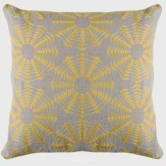 Niki Jones Polygon Cushion Chartreuse Natural Linen - CULOW