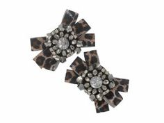 Designer Clear Rhinestone Leopard Bow Shoe Clips Accessories
