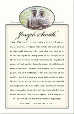 ~Joseph Smith the Prophet and Seer of The Lord~ Find more LDS inspiration at: www.MormonLink.com