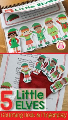 Elf interactive counting book and fingerplay.  This cute elf counting book is perfect for totschool, pre-k or preschool kids.  Use the rhyme as a fingerplay at circle time or in small groups and use the interactive counting book in your class library.  Kids enjoy pulling an elf off the book as they read through the rhyme.