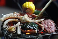 Vietnamese food, grilled seafood. This looks fun