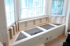 Attractive Window Bench Seat With Storage with Building A Window Seat With Storage In A Bay Window Pretty Handy Diy Bench Seat, Window Storage Bench, Window Seat Storage, Bedroom Seating, Bay Window Seating Kitchen, Kitchen Benches, Bench Seating Kitchen, Kitchen Bay Window, Bay Window Seat