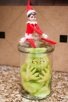 Elf on the shelf - puts Mr. Grinch in time out!