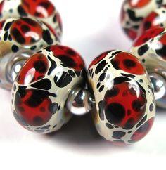 Red Leopards  BBGLASSART  Lampwork Boro Bead by bbglassart on Etsy
