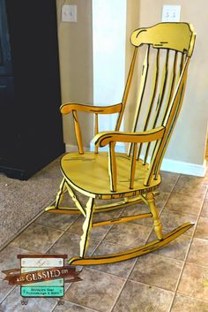 Illustrated 3D Rocking Chair - Chalk Painted Furniture Flip! Looks like it came right out of a book!