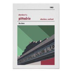 Pittodrie Aberdeen. Vintage look Merkland print  $18.75  by Jediirnbru  - custom gift idea