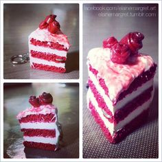 Polymer clay sculpture - my Red Velvet cake slice charm!
