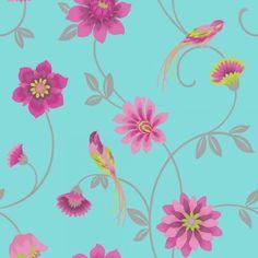 I Love Wallpaper Exotic Eden Bird Wallpaper Teal / Pink  / Green / Silver Wallpaper Teal And Pink, Feature Wallpaper, Bird Wallpaper, Pattern Wallpaper, Wallpaper Ideas, Stunning Wallpapers, Pretty Wallpapers, Ruby Room, Teal Bird