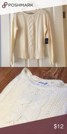 Off white sweater Pretty off white sweater. Soft and pretty. NWT St John's Bay Sweaters