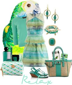 """Parrot Green for Spring"" by buffyb ❤ liked on Polyvore"