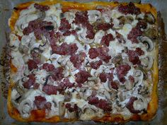 mushrooms, sausage and mozzarella