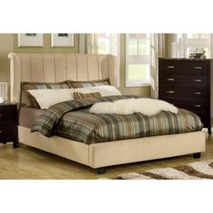 @Overstock.com - This modernly designed bed features a striking wingback headboard with a gorgeous body covered with soft velvet upholstery. This bed is sure to last for years to come with supportive European style slat kit and hardwood sturdy frames.http://www.overstock.com/Home-Garden/Luxi-Beige-Velvet-Platform-Queen-Bed/7747068/product.html?CID=214117 $774.99