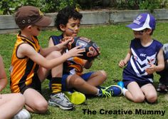 AFL party games the kids can play at an Aussie rules themed birthday party. pass the ball, quiz, kick to kick and other games. Football Party Games, Football Birthday, Football Boys, Kids Party Games, Sports Party, Birthday Party Games, Boy Birthday, Games For Kids, Footy Games
