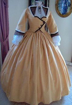 1800s Victorian Dress - 1860s Civil War Day Gown - Walking Traveling Suit - Carriage Bodice - Skirt - Golden Toffee Moire'.