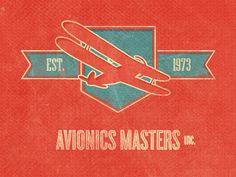 Avionics Masters. Shield. Banner. Plane.
