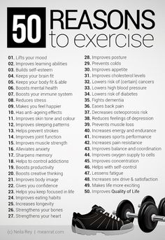 "HEALTHY LIFESTYLE -         ""50 Reasons to Exercise""."