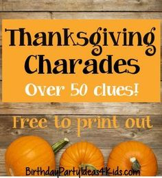 Thanksgiving / Fall themed Charades for kids, tweens and teens! Fun and unique … Thanksgiving / Fall themed Charades for. Thanksgiving Games For Adults, Thanksgiving Traditions, Family Thanksgiving, Thanksgiving Parties, Thanksgiving Activities, Thanksgiving Crafts, Thanksgiving Salad, Thanksgiving Prayer, Thanksgiving Appetizers