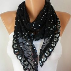 Black Lace Sequin  Scarf   Cowl Scarf  Bridesmaid by fatwoman