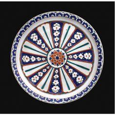 An Iznik Polychrome Dish, Turkey, Circa 1575 | Lot | Sotheby's Glazes For Pottery, Pottery Art, Ceramic Pottery, Antique Plates, Ceramic Plates, Earthenware, Stoneware, Turkish Tiles, Pottery Designs