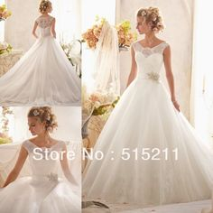 Vintage Victorian Style Cap Sleeves Lace Covered Back Princess Bridal Ball Gown Wedding Dresses 2014 US $199.99