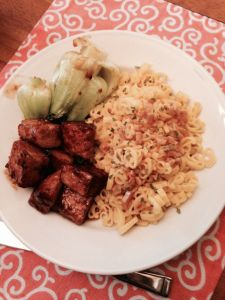 Orange Tempeh with GF Duck Pasta and Baby Bok Choy