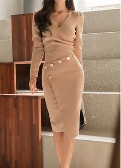 Single Breasted Decorative Button Plain Bodycon Dress – wanokitty dresses for fall dresses clothes dress to beautiful dresses dress fitted dress fashion accessories dress style dresses dress outfit fa Winter Dresses, Casual Dresses, Fashion Dresses, Elegant Dresses, Pretty Dresses, Sexy Dresses, Summer Dresses, Work Dresses, Floral Dresses