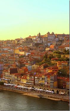 Vila Nova de Gaia view to Oporto, on the other bank of Douro River #Porto #Portugal #Douro