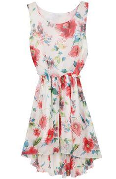 Vestido asimétrico estampado flores-Beige EUR€16.20
